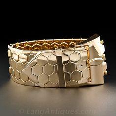 Wide 18k Retro Rose Gold Buckle Bracelet $8,950.00