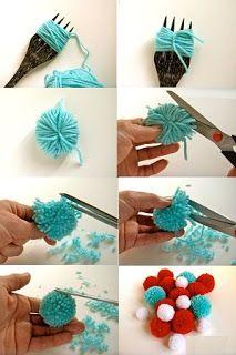 Pompones hechos con un tenedor.