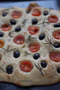 Cherry-tomato, olive and rosemary focaccia