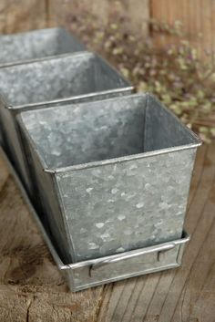 Galvanized Herb Pots & Tray $8.99