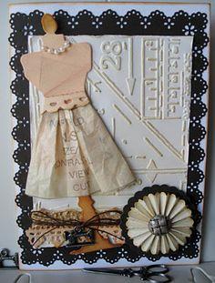 Sewing card - Tim Holtz mannequin, sewing embossing folder, rosette die, Martha Stewart punch
