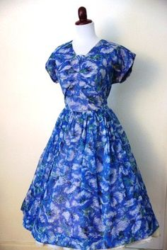 Vintage 1950s Blue Chiffon Party Dress by RetroKittenVintage, $85.00