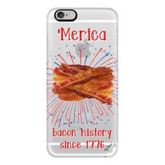 iPhone 6 Plus/6/5/5s/5c Case - 'Merica - Bacon History Since 1776 ($40) ❤ liked on Polyvore featuring accessories, tech accessories, phone cases, iphone case, apple iphone cases, slim iphone case, iphone cover case and iphone cases