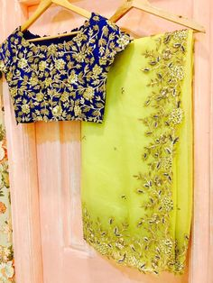 SC-S220: Royal blue and green hand embroidered saree!!!We can customize the colour size as per your requirement.To order please call/ WhatsApp on 9949944178 or mail us @issadesignerstudio@gmail.com 13 March 2017
