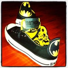 Batman Converse Shoes. I could add these with my batgirl converses, dad :P