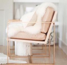 Awesome Blush Pink Accent Chair For Your Interior Decor: Transitional Blush Pink Accent Chair With Brushed Brass Base For Attractive Living Room Design Gold Bedroom, Deco Design, Design Trends, Design Ideas, Design Projects, Take A Seat, Home And Deco, My New Room, Home Decor Inspiration