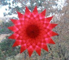 Red Mandala Floral Window Star
