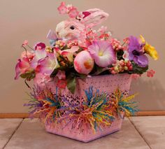Easter Bunny Pink Sisal Bunny With Pastel Fringe In by PamsDeZines