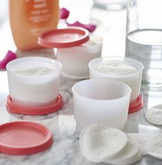 DIY Makeup Remover  Natural way to remove makeup!  Tupperware snack cups are perfect for storing your remover in and our smidgets are perfect size to travel with.   Ask me for details!  FromTheEyesOfHope@gmail.com Facebook.com/FromTheEyesOfHopeTupperware