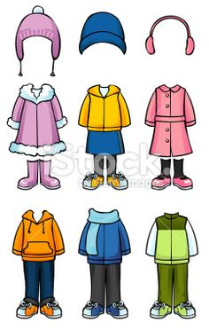 3fe9d746880 Winter clothes for children Royalty Free Stock Vector Art Illustration