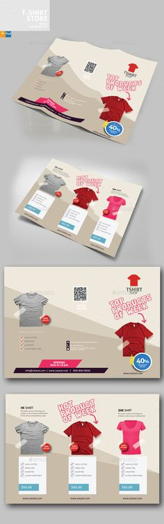 T-Shirt Store Trifold Brochure Template PSD, Vector EPS, AI Illustrator