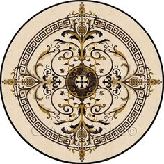 Water-jet cut stone designs for floors - 'Galicia' design