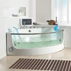 Mini 23 person indoor spa hot tub with two long lounges View 2