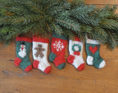 Snowman, Gingerbread Man, Snowflake, Wreath and Heart  Set of 5 Hand Knit Christmas Stocking Ornaments - brand new and sure to be a favorite!