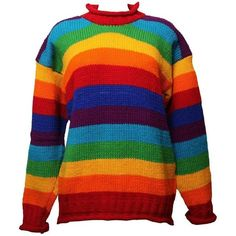 Oversized Rainbow Wool Jumper (€66) ❤ liked on Polyvore featuring tops, sweaters, jumper top, oversized tops, woolen jumper, rainbow jumper and wool tops