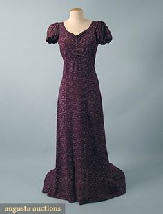 1930s EMBROIDERED LAME EVENING DRESS, Purple crepe w/ stylized deco embroidery in silver metallic