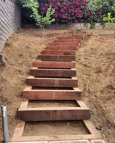 Built a nice set of timber garden stairs today up an embankment that will have a little sitting area #landscape #landscape_lovers #landscapeconstruction #hyperconstructioninc #woodwork