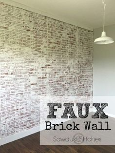 How to: Faux Brick Wall - Sawdust 2 StitchesYou can find Brick walls and more on our website.How to: Faux Brick Wall - Sawdust 2 Stitches Bedroom Wallpaper Accent Wall, Brick Wall Bedroom, Diy Interior Brick Wall, Wallpaper For Walls, Brick Look Wallpaper, Textured Brick Wallpaper, Interior Ideas, Faux Brick Wall Panels, Brick Wall Paneling