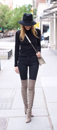justthedesign: Neutral coloured over the knee boots will look. justthedesign: Neutral coloured over the knee boots will look great paired with an all black outfit. Mode Outfits, Fashion Outfits, Womens Fashion, Fall Winter Outfits, Autumn Winter Fashion, Fall Fashion, Autumn Fall, Net Fashion, Street Fashion
