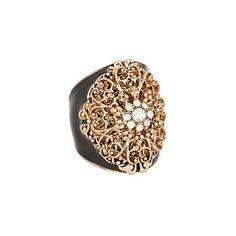 Black enamel filigree ring - Fashion rings - Jewellery - Women -