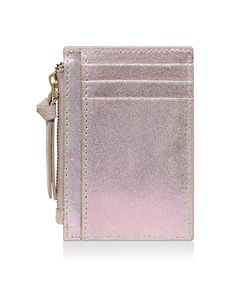 Accessorize | Leather Holographic Travel card Holder | Metallic | One Size