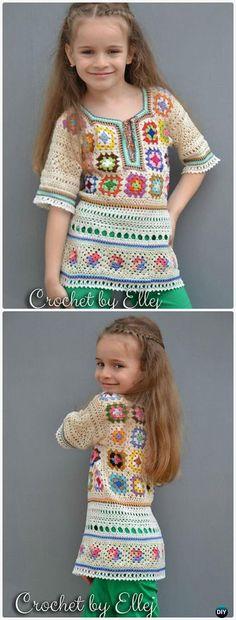 Crochet Colorful Mood Granny Square Tunic Free Pattern - Crochet Kids Sweater Tops Free Patterns