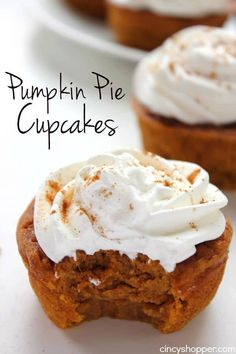 If you are a fan of pumpkin pie, you will find these Pumpkin Pie Cupcakes to be a perfect spin on the traditional dessert. Pumpkin pie in the form of a cupc Desserts Pumpkin Swirl Cheesecake, Pumpkin Pie Cupcakes, Mini Pumpkin Pies, Baked Pumpkin, Pumpkin Cookies, Pumpkin Dessert, Pumpkin Recipes, Pumpkin Spice, Cupcakes Fall