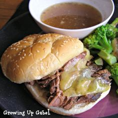 Slow Cooker French Dip Sandwiches from Growing Up Gabel