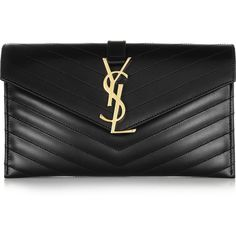 Saint Laurent Monogramme quilted leather clutch (4.580 BRL) ❤ liked on Polyvore featuring bags, handbags, clutches, black, purses, man bag, quilted handbags, quilted purses, quilted leather handbags and yves saint laurent