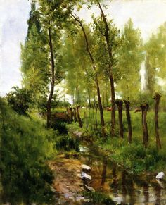 Willows and Stream, Giverny  Louis Ritter - 1887 - A familiar stream in a town st