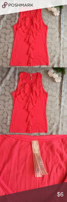 Bright Coral Ruffle Tank Great coral Top. Great details, ruffles in the front with a small opening at the top. Very Stretchy. Non smoking home Solemio Tops Tank Tops