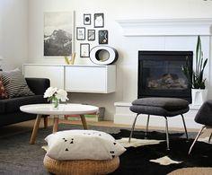 Séjour éclectique noir et blanc