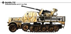 "SdKfz.7.2. - Flakwagon : "" Grossdeutschland "" Panzer Gren.division. - Specification`s: Type : AA Vehicle - Crew : 7 - Engine Maybach HL 62, 6 cyl. Gasoline 