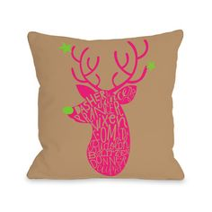 One Bella Casa Neon Noel 1 Woven Polyester Throw Pillow & Reviews | Wayfair