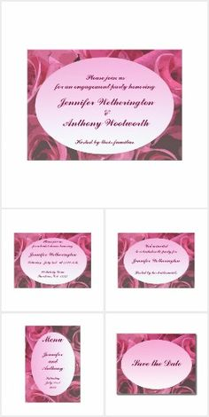 Rose Abstract Wedding Invitations @bebopsplace