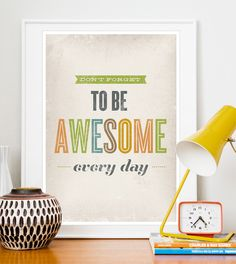 """This woul be """"awesome"""" for my classroom.   Inspirational quote print Typography poster Retro VIntage by handz, $20.00"""