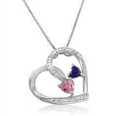 Created-Pink Sapphire, Amethyst and Diamond Double Heart Necklace in Sterling Silver: Jewelry