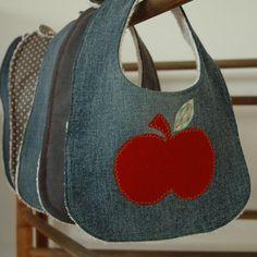 Denim bib with appliquéd apple by CherryPeg on Etsy, £8.00