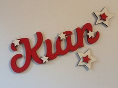 Personalised kids ANY NAME wood wall/door plaque gift. Red & cream.