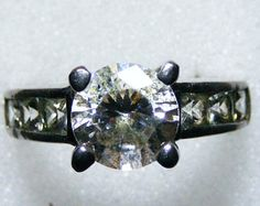 Vintage silver cubic zirconia ring.  Size 6
