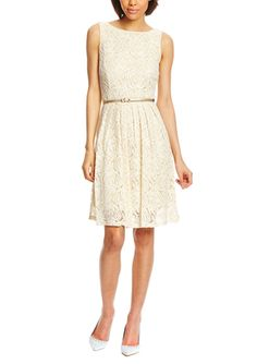 On ideel: SHARAGANO Sleeveless Crochet Fit and Flare Dress with Belt