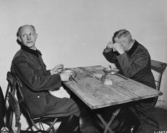 Alfred Jodl and Wilhelm Keitel at a makeshift dining room during the Nuremberg Trials, Germany, 1945-1946; Source: United States Holocaust Memorial Museum; ID: 81921