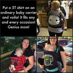 Put a 5T shirt on an ordinary baby carrier and voila! It fits any and every occasion now! So cool! Genius mom! #diy #ergo #tula #diybaby #diybabycarrier #diyeasy #toddler #toddlerdiy #babycarrier