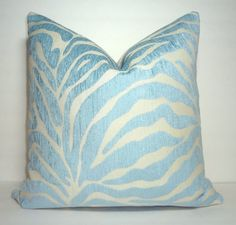 Pale Blue Zebra Print Pillow Cover Throw Pillow by HomeLiving