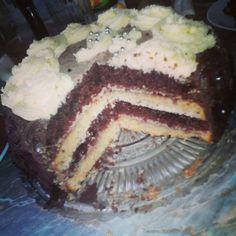 Ombré-striped cake