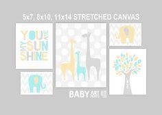 Pale Yellow, Aqua mint, grey Nursery Stretched Canvas Art Prints, Set of 5, Tree, Giraffe, Elephant, You are my sunshine ( CAMS006 )