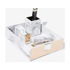 Rachel George Robertson Marble Desk Tray (2,675 DOP) ❤ liked on Polyvore featuring home, home decor, office accessories and white