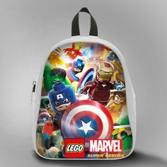 Lego Marvel Superhero Captain America 2, School Bag Kids, Large Size, Medium Size, Small Size, Red, White, Deep Sky Blue, Black, Light Salmon Color