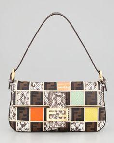V1E7D Fendi Snakeskin Colorblock Baguette Bag-Neiman Marcus