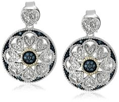 Sterling Silver and 14k Yellow Gold Blue Diamond Art Deco Round Earrings * More info @ http://www.amazon.com/gp/product/B014FKLQVW/?tag=jewelry163-20&pcd=190716132349